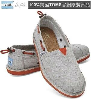 【Cadiz】美國真品正品 TOMS 灰色抽繩帆布平底鞋 [Grey Chambray Women\