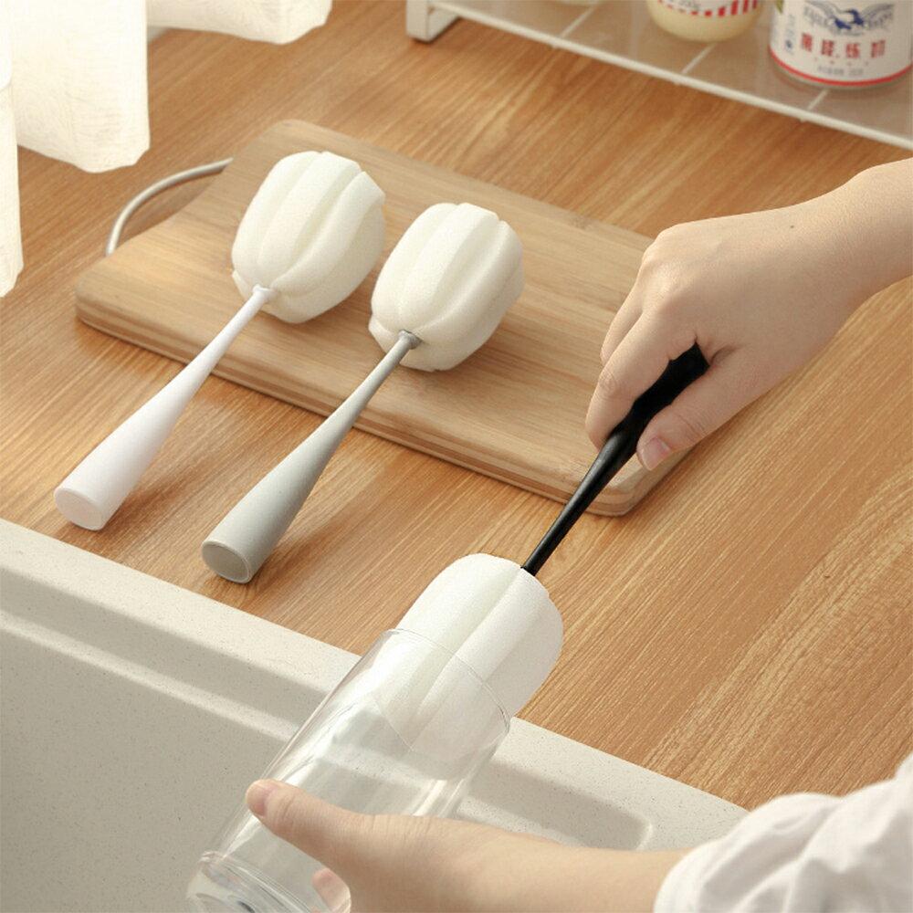 可立式海綿清潔刷 洗杯刷 奶瓶刷 保溫杯刷 玻璃杯清潔刷 長柄杯刷【生活普拉斯】【A303】