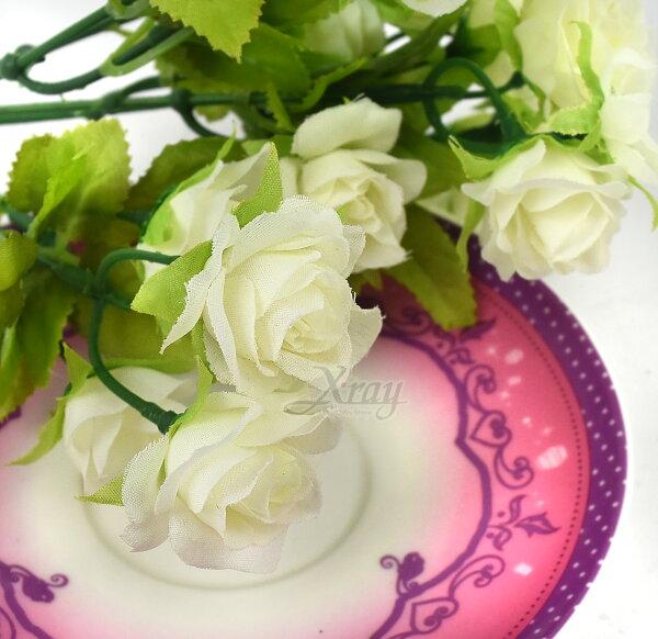 X射線【Y002081】五頭圓心小玫瑰-米白,仿真花人造花園藝家飾婚禮小物佈置裝飾幼兒園送禮配件髮飾活動佈置花束花園陽台
