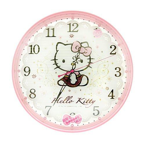 【真愛日本】14070500002 晶鑽圓形壁鐘-粉 三麗鷗 Hello Kitty 凱蒂貓 時鐘 掛鐘 壁鐘