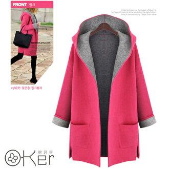 歐風時尚馬卡龍色系純色素面連帽開襟外套顯瘦外套 O-Ker LL081320