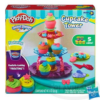 【Playwoods】[培樂多黏土PLAYDOH]培樂多杯子蛋糕遊戲組Cupcake Tower(內含5罐黏土&模具/安全無毒/DIY/安全/孩之寶Hasbro)