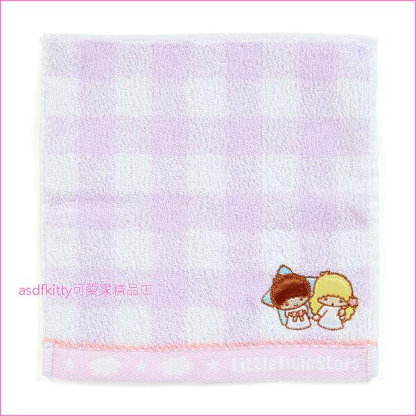 asdfkitty可愛家☆雙子星紫格小方巾手帕-毛巾布材質-20*20公分-日本正版商品