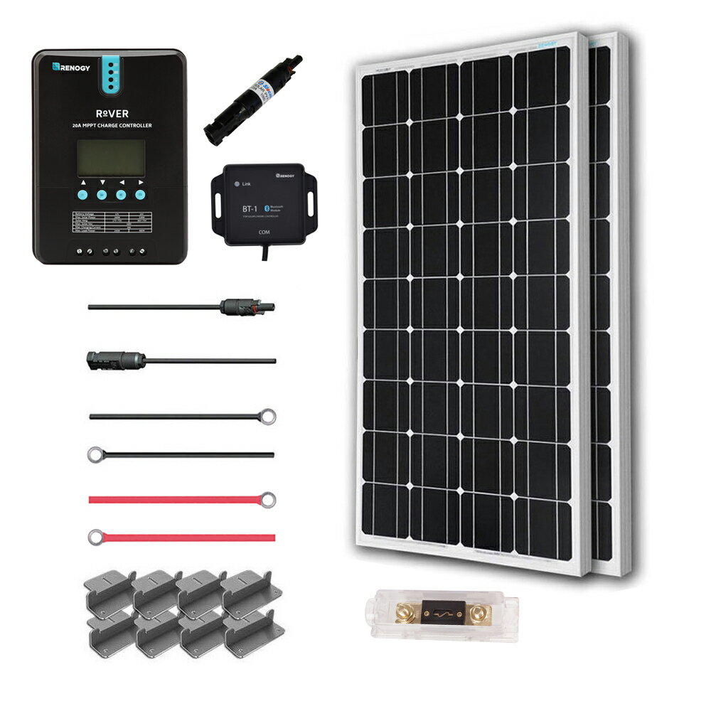 Renogy 200 Watt 12 Volt Off Grid Solar Premium Kit with Monocrystalline Solar Panel and 20A MPPT Rover Controller 0