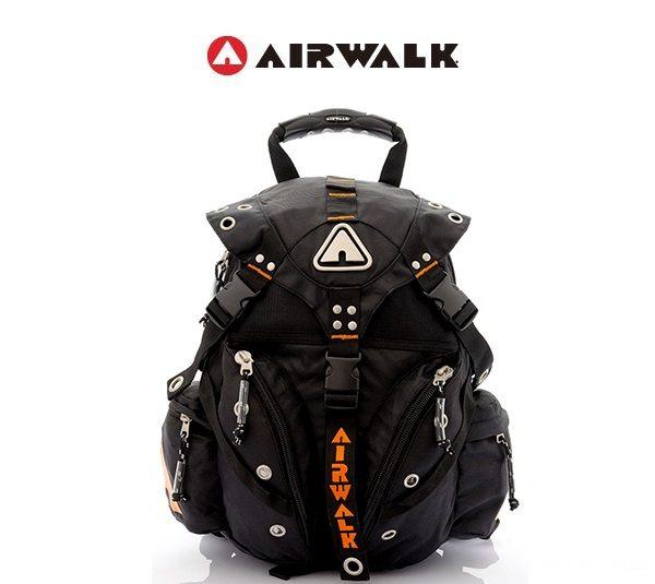 AIRWALK街頭系列-美式潮流三叉釦尼龍後背包(橘)(大容量)