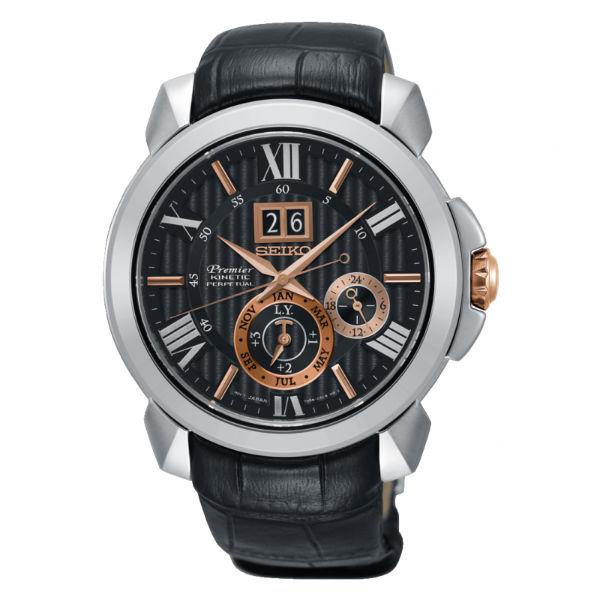 Seiko精工表Premier7D56-0AE0E(SNP149J2)人動電能萬年曆大視窗日期腕錶黑面43mm