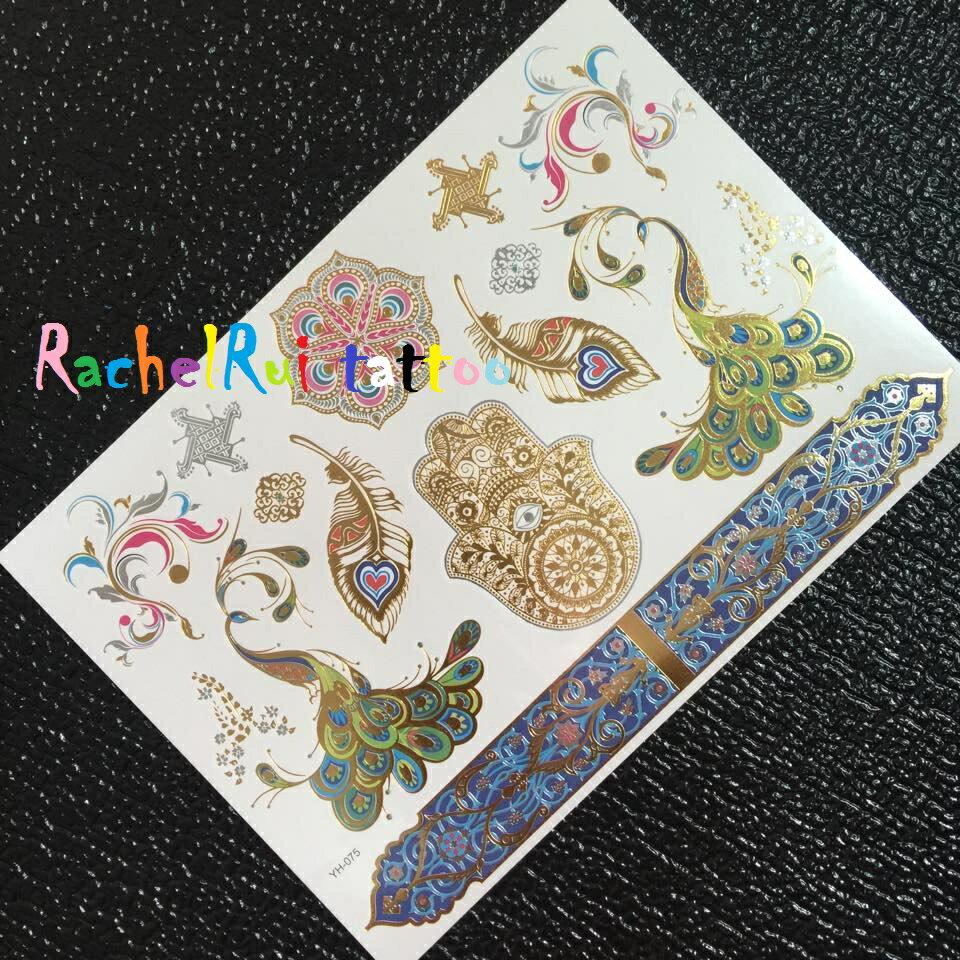 ★RachelRui★金屬紋身貼紙,孔雀羽毛