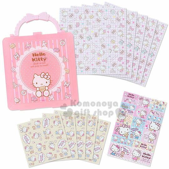 〔小禮堂〕Hello Kitty 附提盒便條紙組《粉條紋.坐姿.字母餅乾》