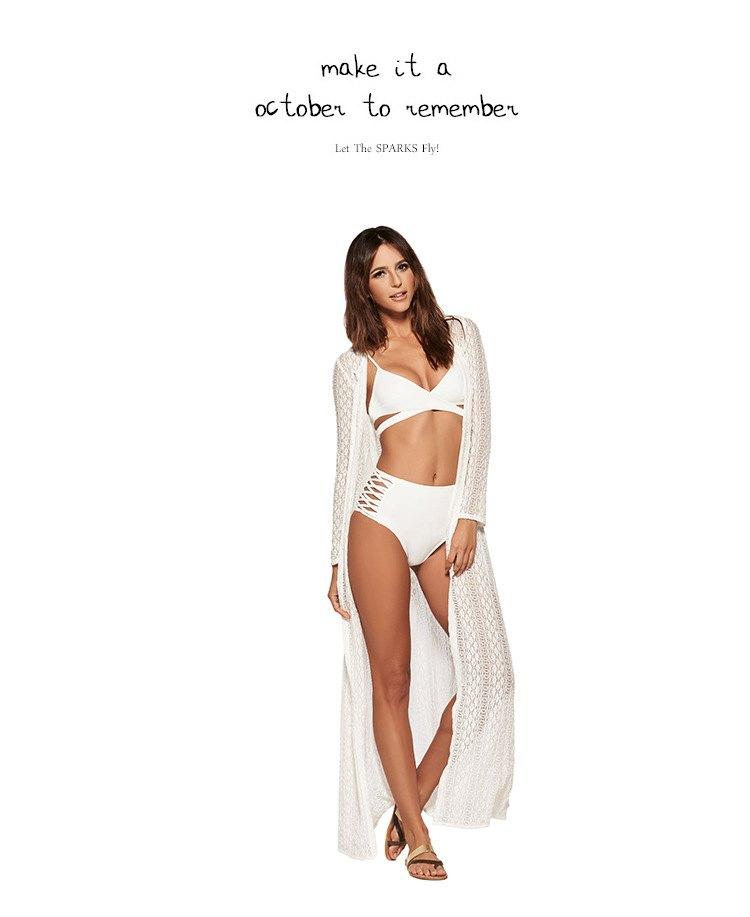 罩衫 蕾絲 緹花 長裙 開襟 長袖 沙灘 比基尼 罩衫【ZS199】 BOBI  04 / 26 4