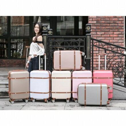 【ChenWorld】復古行李箱韓版糖果色20吋(時尚女士手提拉鍊箱)