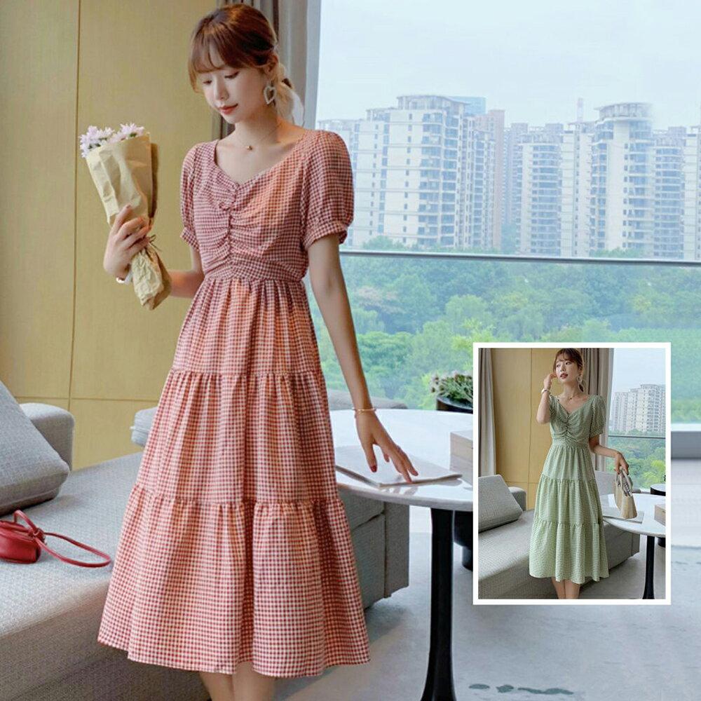 方領格子連身裙洋裝(2色S~XL)*ORead* 1