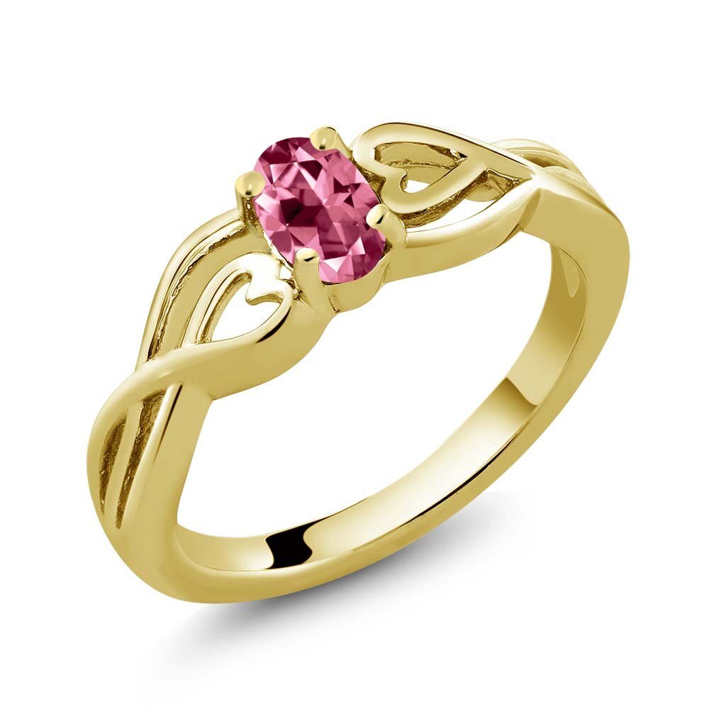 18K Yellow Gold Plated Silver Solitaire Ring Set with Pink Topaz from Swarovski 0