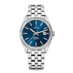 TITONI瑞士梅花錶 宇宙系列 878 S-612 新穎鋸齒風格腕錶/藍 41mm