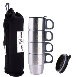 ├登山樂┤CAMP LAND 斷熱杯/保溫杯 可疊式不鏽鋼雙層斷熱咖啡杯組 一組四個含高級收納提袋 #RV-ST260