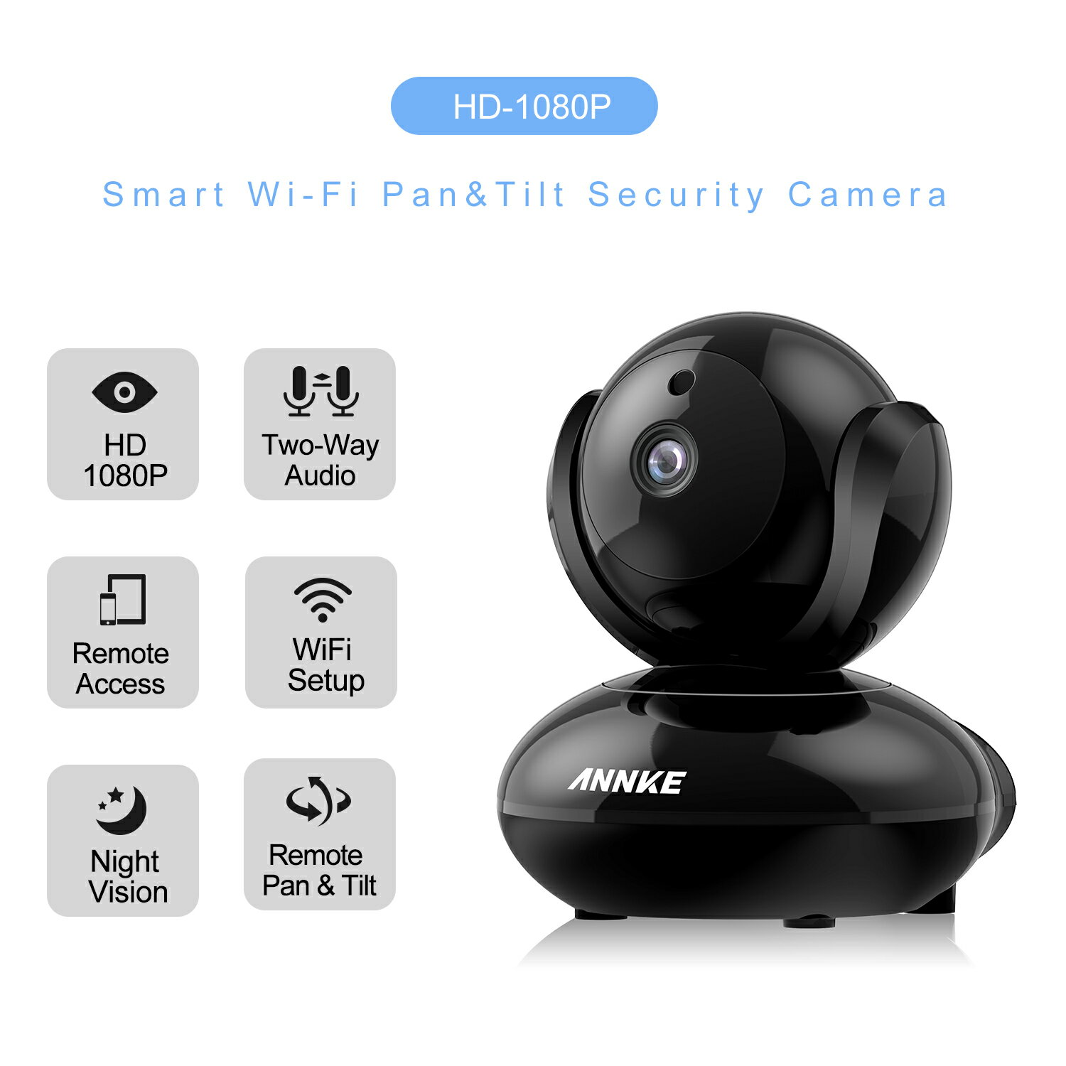 ANNKE HD 1080P WiFi Video Monitoring Security Wireless IP Camera with  Pan/Tilt, Two-Way Audio, Plug & Play Setup, Optional Cloud Recording, Full  HD