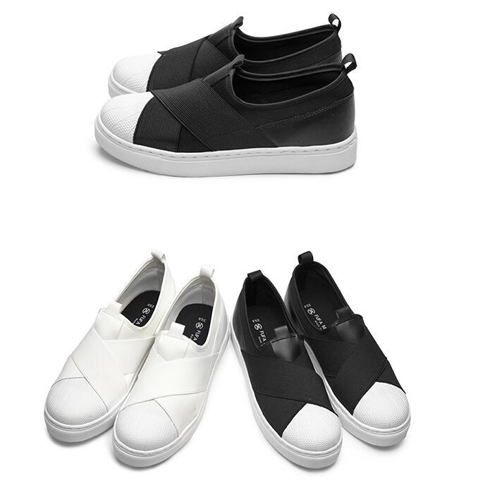 【My style】富發牌1CK11懶人繃帶貝殼頭休閒鞋(黑.白)23-25號-任兩雙免運