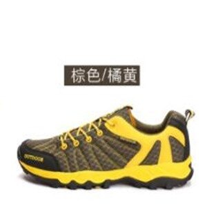美麗大街【W16033】戶外登山鞋運動鞋潮流情侶款透氣防滑耐磨底網面男女鞋(卡其黃)