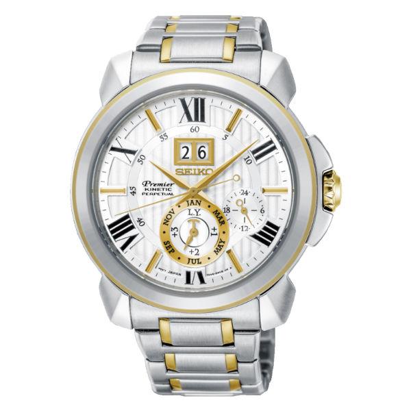 Seiko精工錶Premier7D56-0AE0G(SNP152J1)人動電能萬年曆大視窗日期腕錶藍面43mm