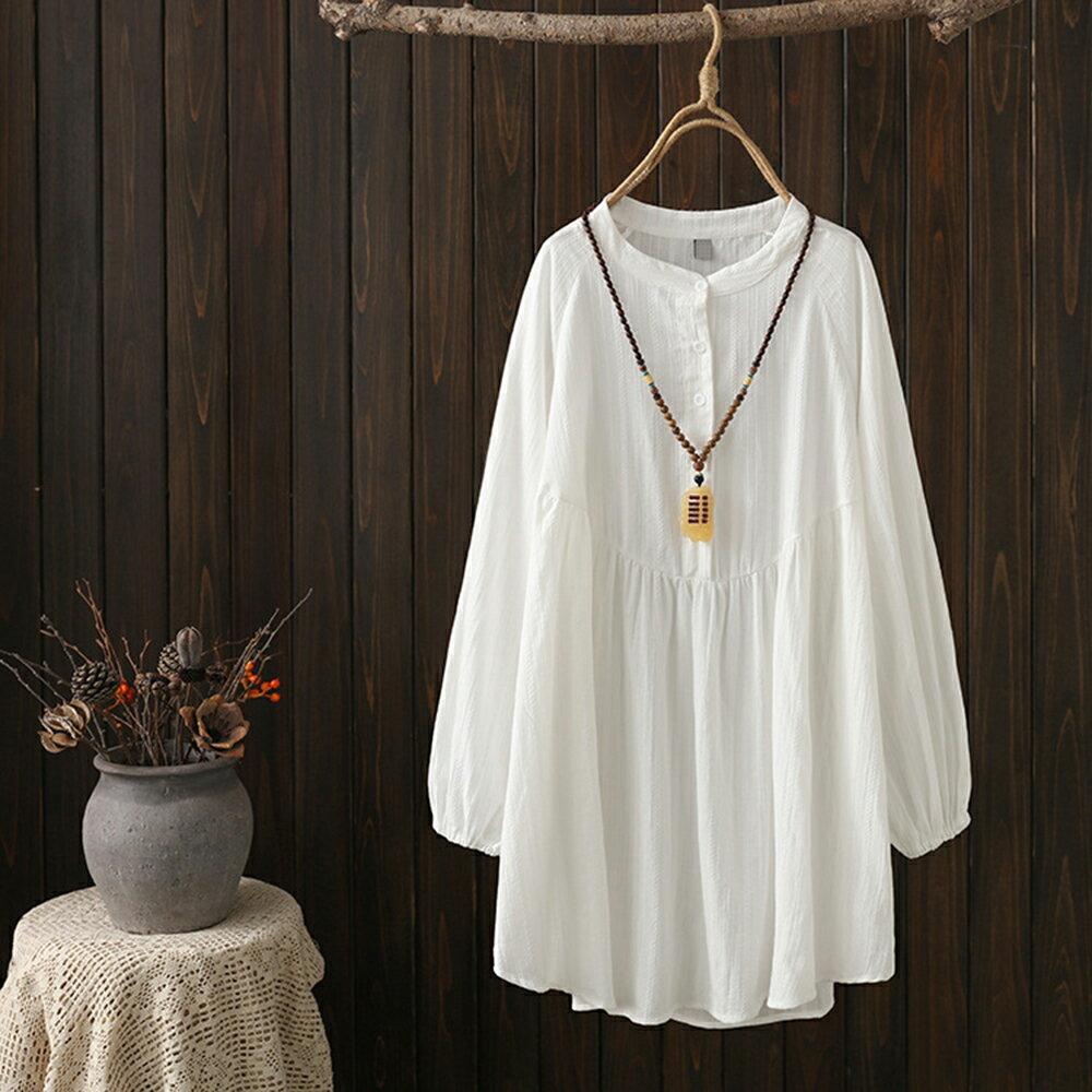 日系森女緹花寬鬆棉麻中長款長袖襯衫(3色XL~4XL)*ORead* 2