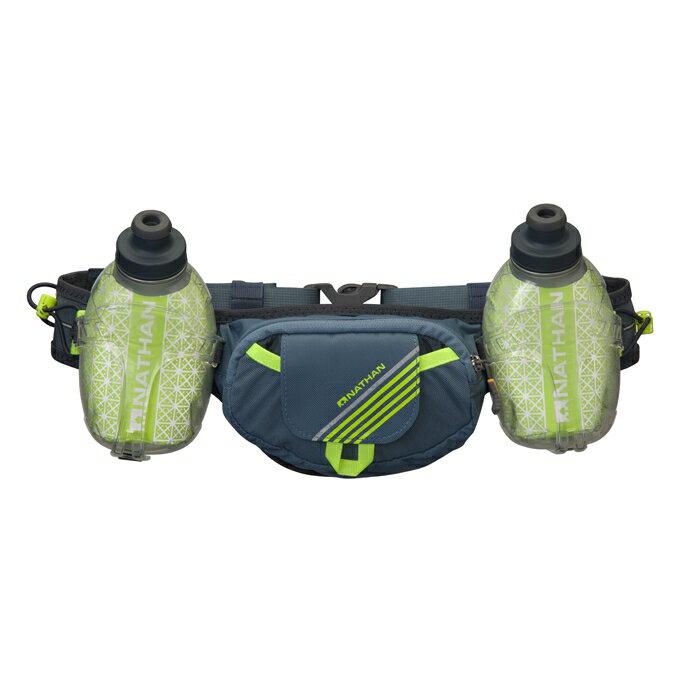 NATHAN - Trail Mix Plus 保冷雙水壺腰包(珊瑚藍).附二支反光鱷魚夾,可夾環保紙杯及號碼布
