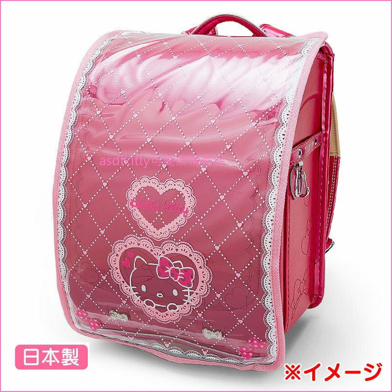 asdfkitty可愛家☆KITTY愛心兒童後背書包防水雨套-透明美觀.每天可用-日本製