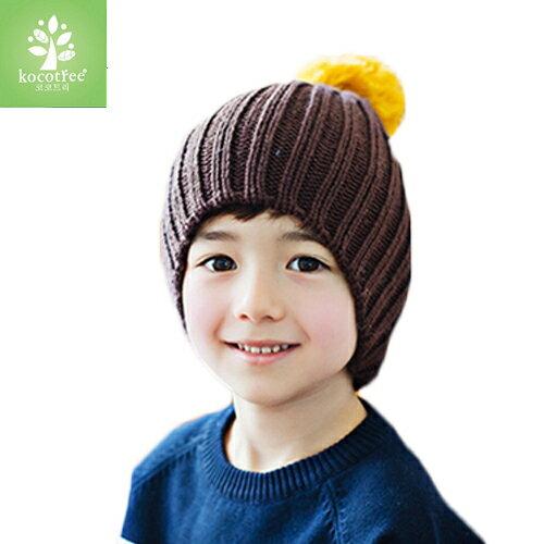 Kocotree◆ 秋冬簡約氣質純色糖果色立體大毛球兒童保暖毛線帽-咖啡