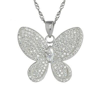 925純銀項鍊鑲鑽吊墜~精美有型蝴蝶 母親節情人節生日 女飾品73dk251~ ~~米蘭