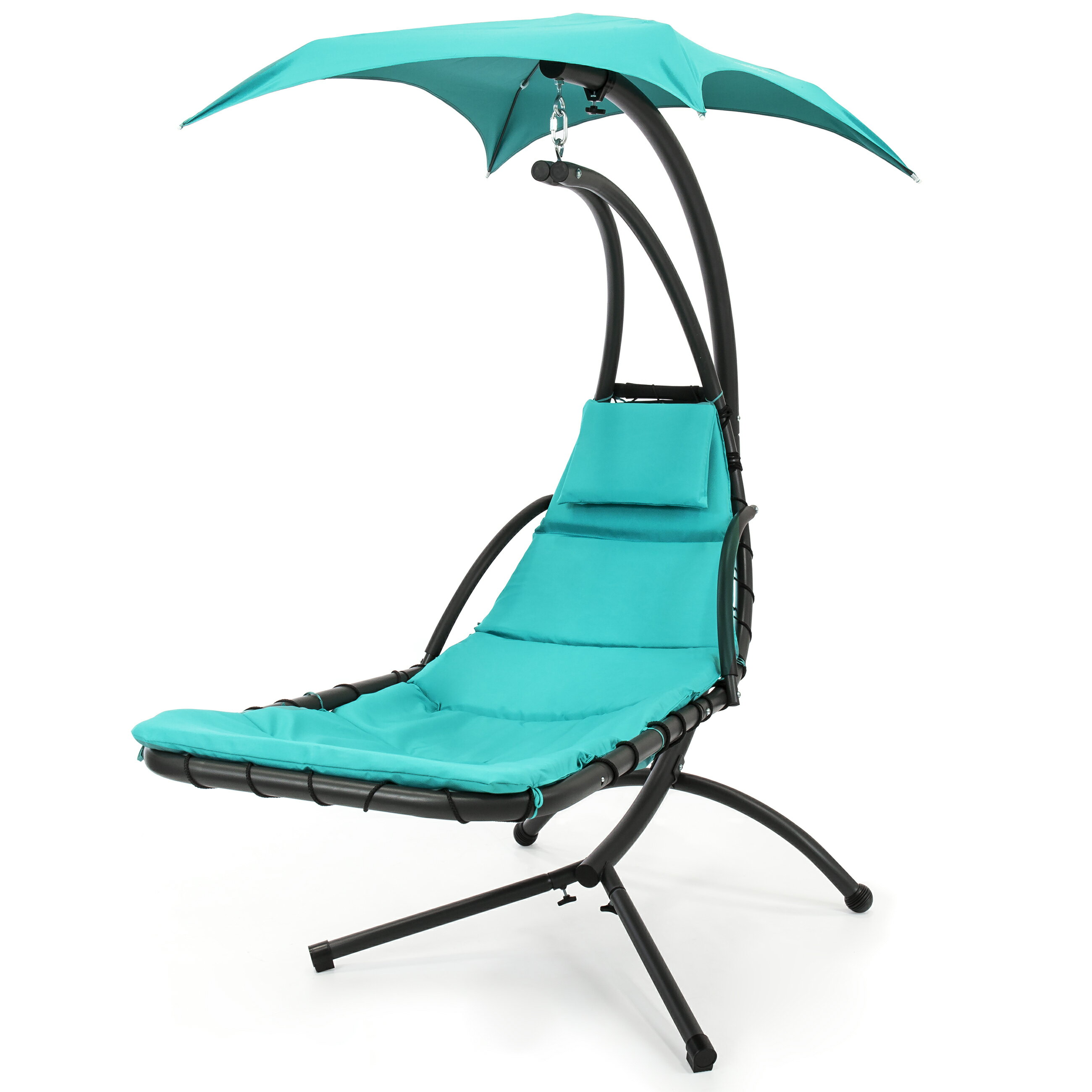 Best Choice Products Hanging Chaise Lounger Chair Arc Stand Air Porch Swing Hammock Chair Canopy (Teal) 1