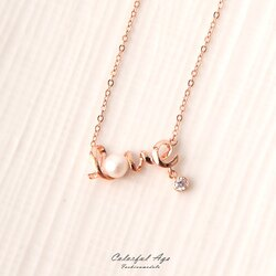 925純銀項鍊 玫金LOVE造型珍珠水鑽鎖骨鍊頸鍊 甜美質感典雅 柒彩年代【NPB60】抗過敏設計
