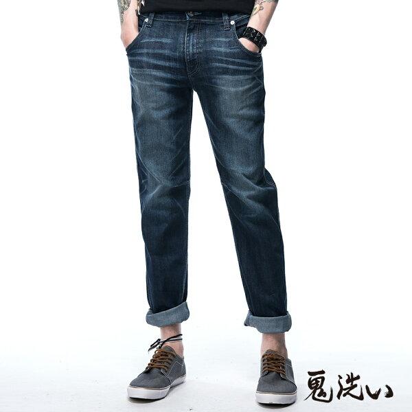 【春夏新品】鬼洗COOLMAX低腰直筒褲(水洗藍)-BLUEWAYONIARAI鬼洗