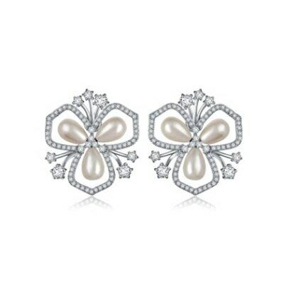 ~純銀耳環鍍白金鑲鑽耳飾~ 亮眼 生日情人節 女飾品73cr332~ ~~米蘭 ~