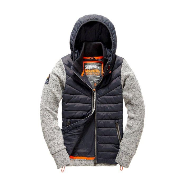 美國百分百【全新真品】Superdry 極度乾燥 連帽 外套 防風 夾克 尼龍 針織 拼接 砂礫灰/深藍 M號 H814