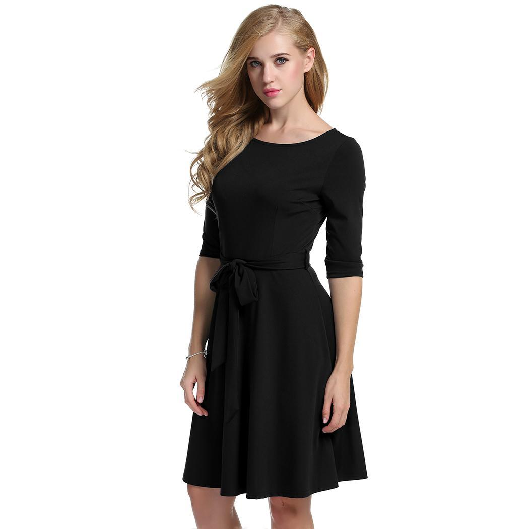 Women Casual O-Neck Solid Pleated Dress with Belt 1