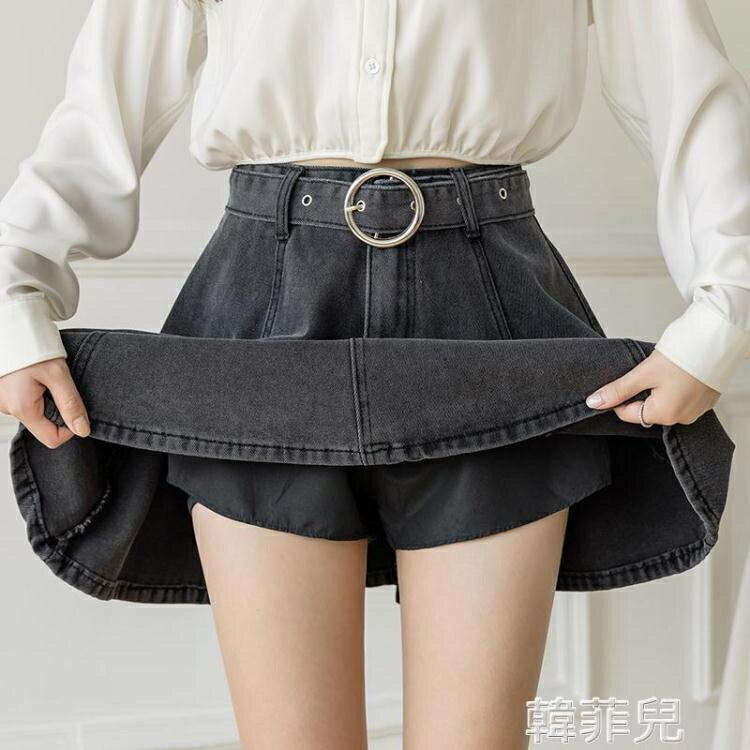 牛仔褲裙 春夏新款A字短裙子小個子女時尚高腰顯瘦灰色復古牛仔半身裙 2021新款