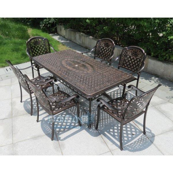 ╭☆雪之屋☆╯ 鑄鋁斜格長方桌(DIY自組)(不含椅)/戶外休閒桌椅T-Z175