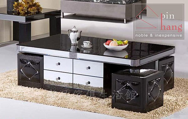 【尚品傢俱】736-40 莫里斯特 黑色玻璃大茶几(附4腳椅)/黑色長几/客廳桌/黑玻茶几