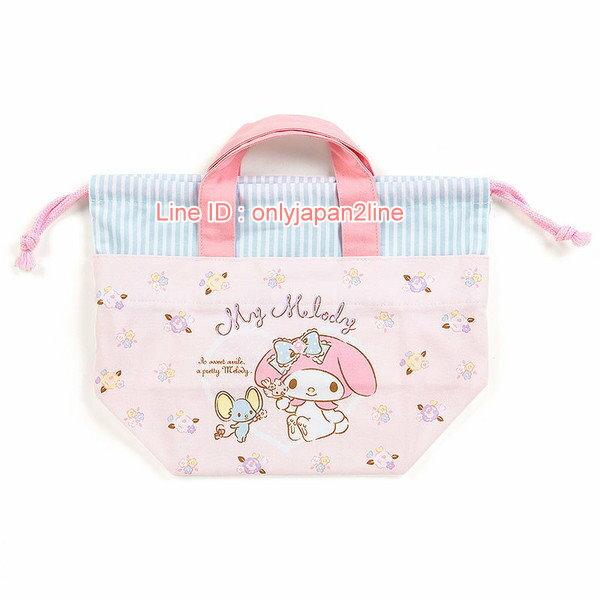 【真愛日本】4901610356647 日本製兩用束口提袋-MM  三麗鷗家族 Melody 美樂蒂  提袋 袋子 收納