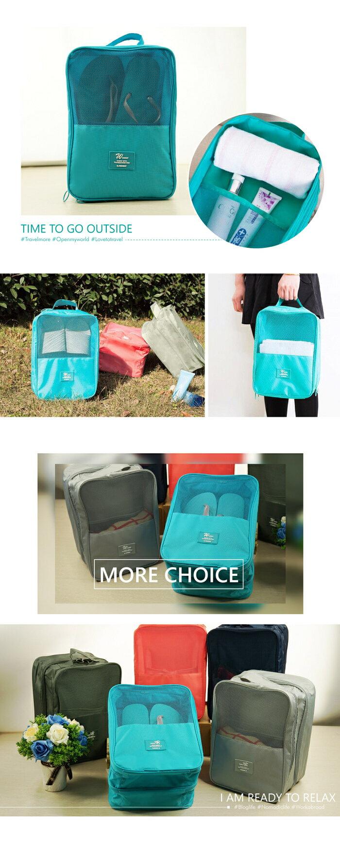 JIDA 簡約乾濕兩用雙層手提鞋袋-顏色隨機出貨(31X23X19cm) [大買家] 3