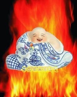 景德鎮瓷器工藝品 哈哈羅漢笑佛 青花雕塑藝術陶瓷 擺設送禮(1)