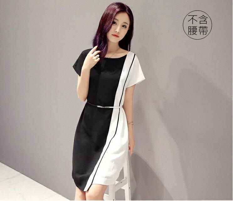 經典時尚.黑白撞色拼接短袖連身裙- shiny藍格子【V2829】 1
