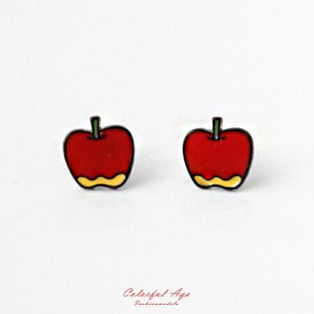 耳環 可愛水果系列香甜蘋果耳針耳環 涼夏海天度假 甜美女孩專屬 柒彩年代【ND281】俏皮風格 - 限時優惠好康折扣