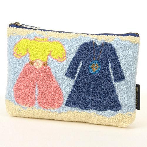 <br/><br/>  【真愛日本】16070600064相良刺繡針織包-天空石衣服     守城機器人 LAPUDA 天空之城  化妝包  收納包 預購<br/><br/>