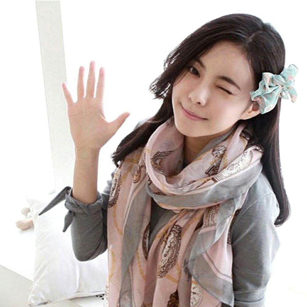 太妃糖 環環時鐘纏繞巴黎紗圍巾(粉)