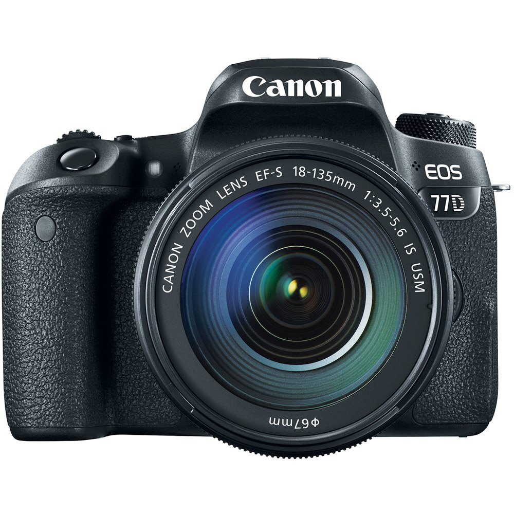 Canon EOS 77D 24.2 MP DSLR Camera + EF-S 18-135mm IS USM Lens Memory & Flash Kit 1