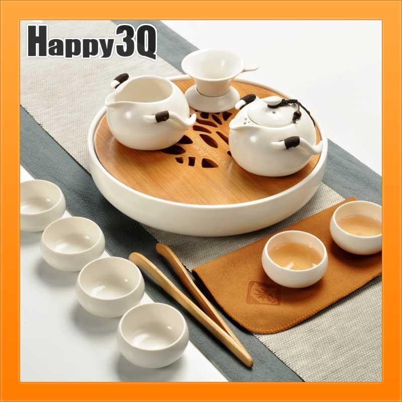 典雅手工日式竹製泡茶套裝茶杯茶壺圓形方形托盤蓄水盤茶盤組套裝可單買-白/綠【AAA1280】