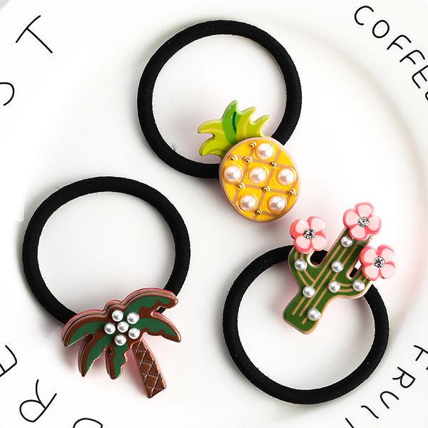 PS Mall 韓版仙人掌鳳梨耶子樹造型鑲仿珍珠髮圈 髮飾【G2453】
