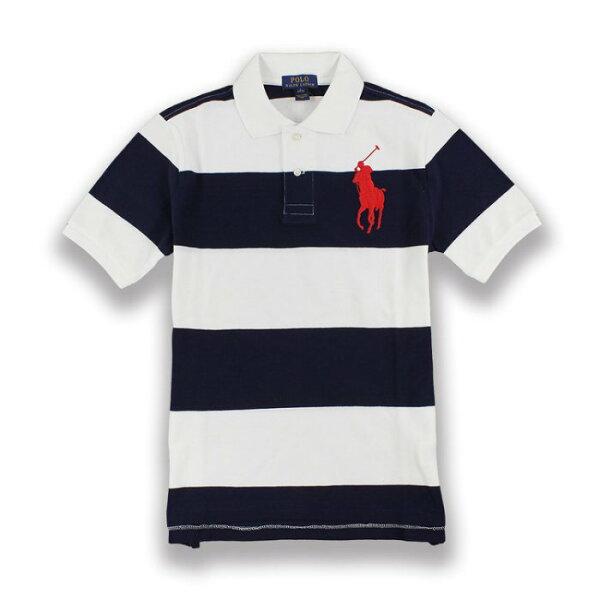 美國百分百【RalphLauren】Polo衫RL短袖網眼大馬粗條紋深藍白色男女XS號I384