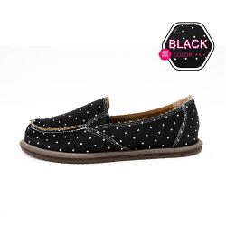 ALMANDO-SHOES ●雪花點點輕量記憶墊帆布鞋● 台灣精品/ 超輕量透氣帆布鞋(黑點點)