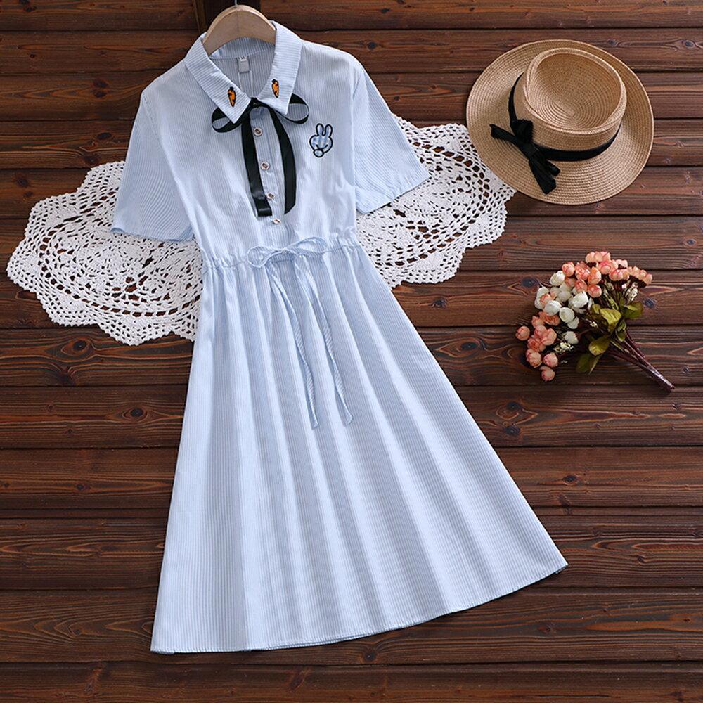 條紋刺繡繫帶收腰短袖連身裙(條紋S~2XL)*ORead* - 限時優惠好康折扣