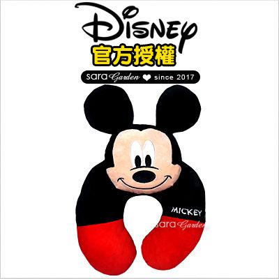 SaraGarden:正版迪士尼Disney米奇立體飛機枕枕頭靠枕午睡枕護頸枕U型枕柔軟絨毛